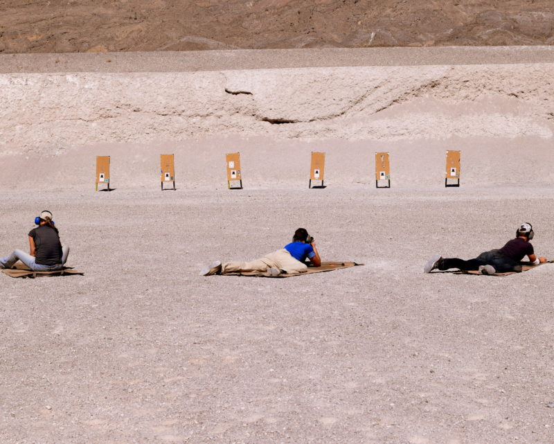 Shooters transition to prone for rapid fire at the 75 yard line.